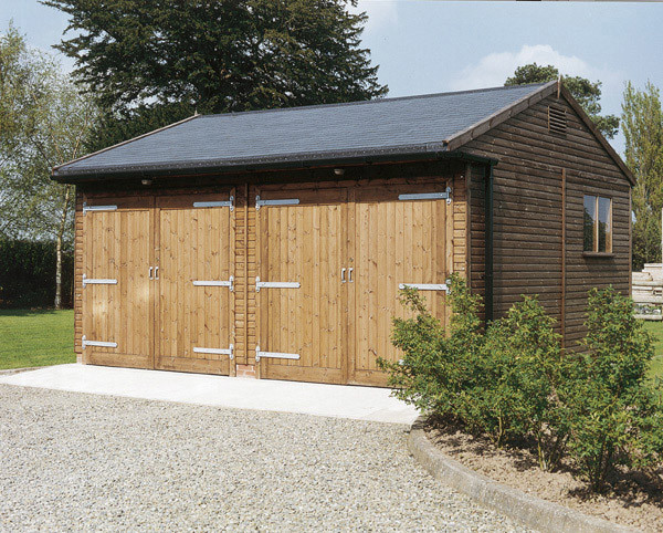 Double Garage With Shingle Tile Effect Roof