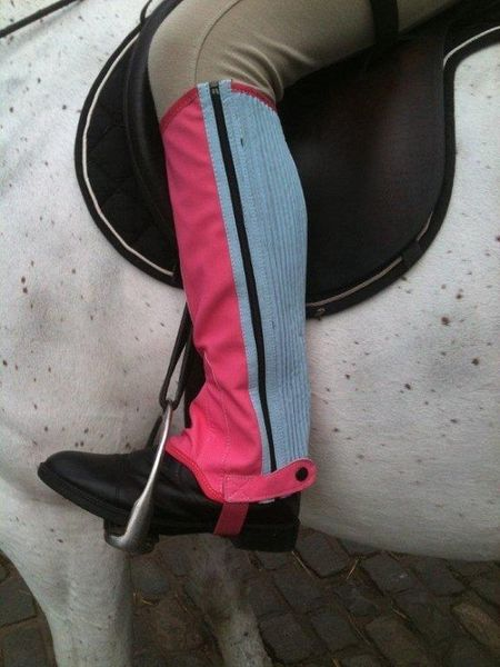 Childrens Washable Half Chaps Pink/Blue Large