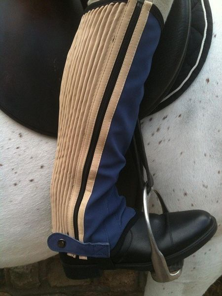 Childrens Washable Half Chaps Navy/Almond Large