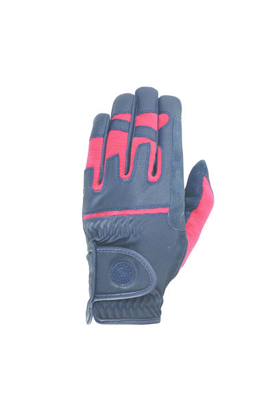 Hy Signature Riding Gloves, Navy/Red, XS