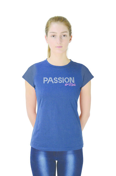 Hy FASHION Passion to Ride T-Shirt Navy, L (14-16)