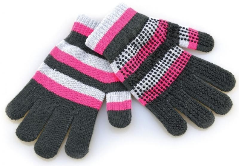 Hy5 Magic Striped Gloves Pink / Grey