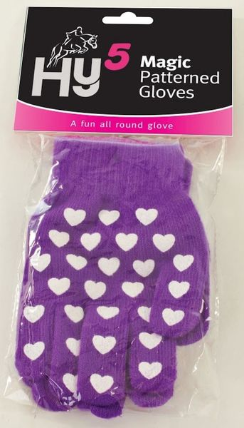 Hy5 Magic Patterned Gloves Adult Purple with Hearts
