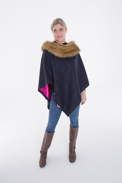 Short Tweed Cape with Faux-Fur Collar image #1