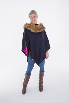 Short Tweed Cape with Faux-Fur Collar