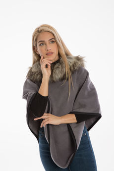 Polar Fleece and Faux-Fur Cape Poncho
