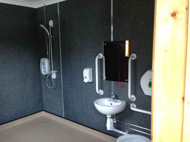 Disabled Toilet in Commercial Block Lined with Recycled Plastic