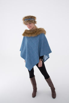 Regular Tweed Cape with Faux-Fur Collar