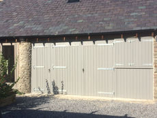 Painted Garage Doors with Workshop Door & Shutters
