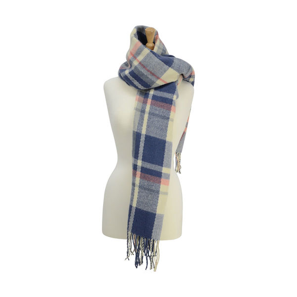 Supersoft Tartan Scarf Soft Blue/Cream/Peach