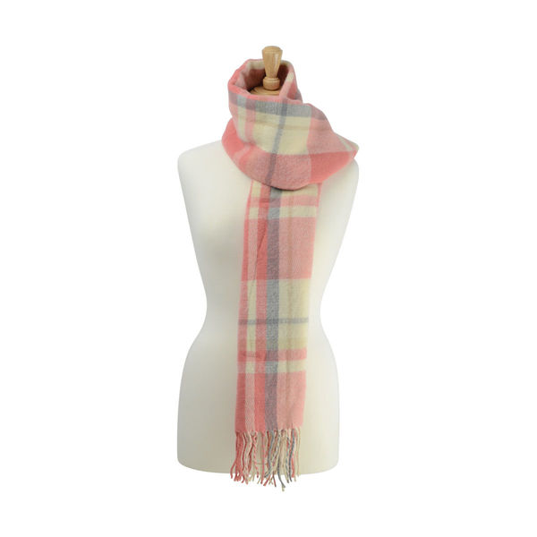 Supersoft Tartan Scarf Soft Coral/Grey/Cream