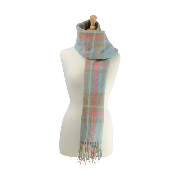 Supersoft Tartan Scarf Soft Blue/Fawn/Coral