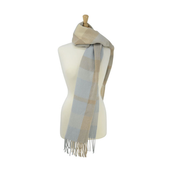 Supersoft Tartan Scarf Soft Blue/Beige/Cream