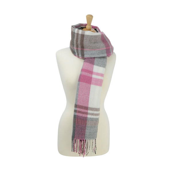 Supersoft Tartan Scarf Soft Berry/Grey/White
