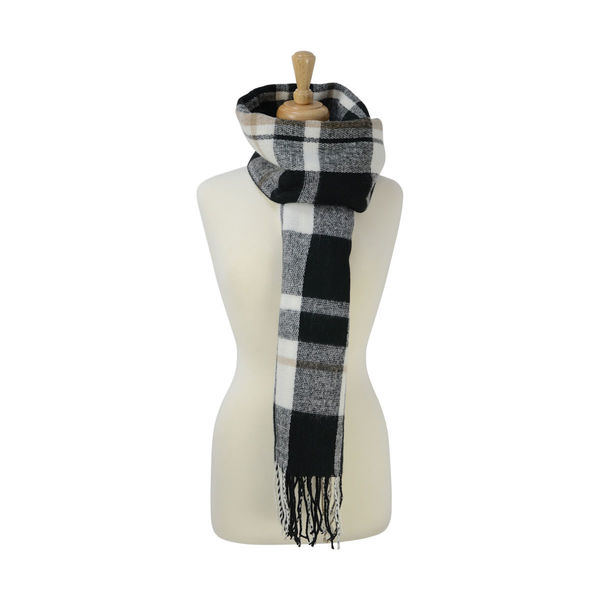 Supersoft Tartan Scarf Soft Black/White/Grey