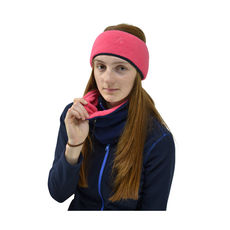 A two-colour fleece neck warmer with adjustable toggle.