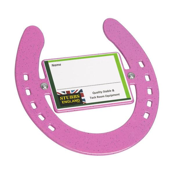 Pink horseshoe nameplate