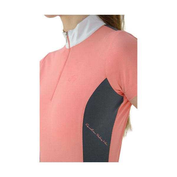HyFASHION Cottesmore Ladies Sports Shirt Coral/GreyL (14-16)
