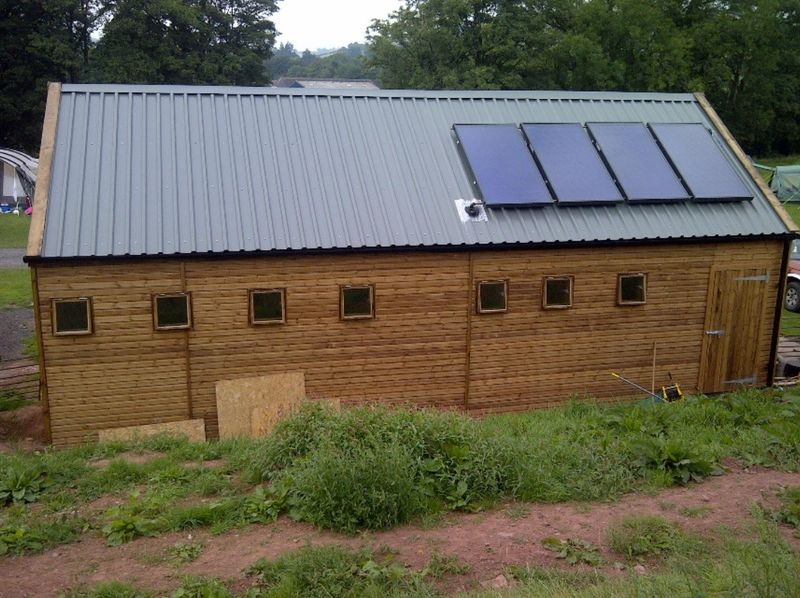 Commercial Toilet & Shower Block Rear View with Solar Panels