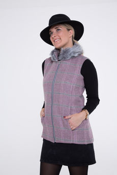 Serina Tweed and Faux-Fur Collar Gilet