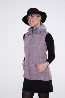 Serina Tweed and Faux-Fur Collar Gilet