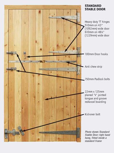 Standard Stable Door Specification Drawing